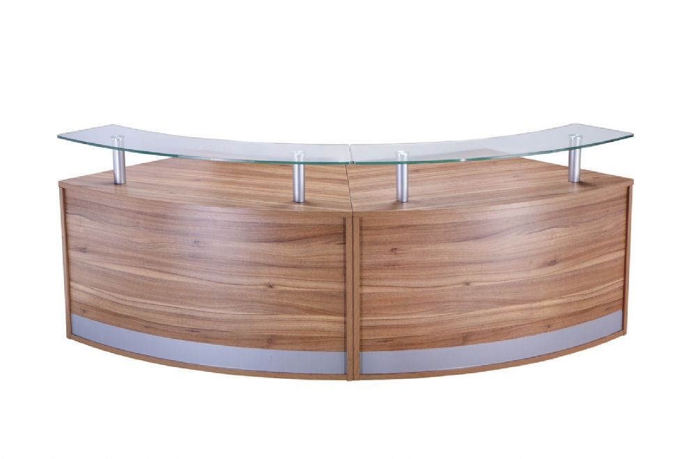 Two Section Curved Reception Counter|Low Height|Two Sections|872mm Deep|Choice of Finish
